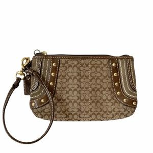 COACH Brown Signature Studded Wristlet Clutch Bag